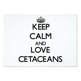 """Guarde la calma y ame los cetáceos invitación 5"""" x 7"""""""