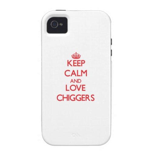 Guarde la calma y ame los Chiggers iPhone 4 Funda