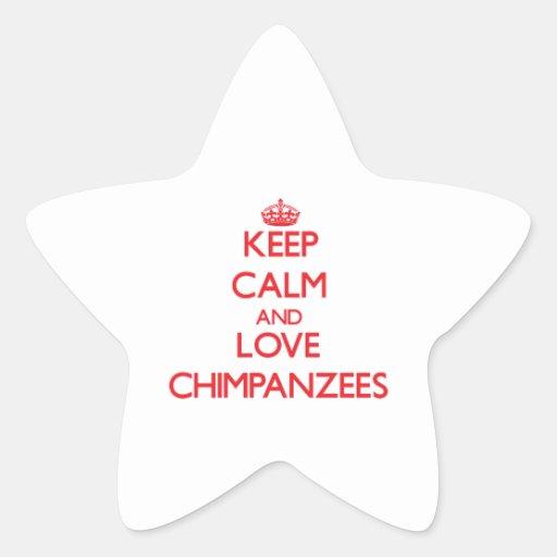 Guarde la calma y ame los chimpancés pegatinas forma de estrellaes