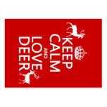 Guarde la calma y ame los ciervos (cualquier color plantilla de tarjeta de visita