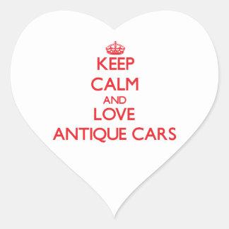 Guarde la calma y ame los coches antiguos pegatinas