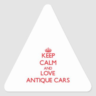 Guarde la calma y ame los coches antiguos calcomanía de triangulo personalizadas
