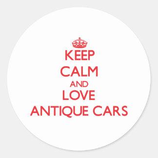 Guarde la calma y ame los coches antiguos pegatina