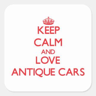 Guarde la calma y ame los coches antiguos calcomanía cuadradas personalizada