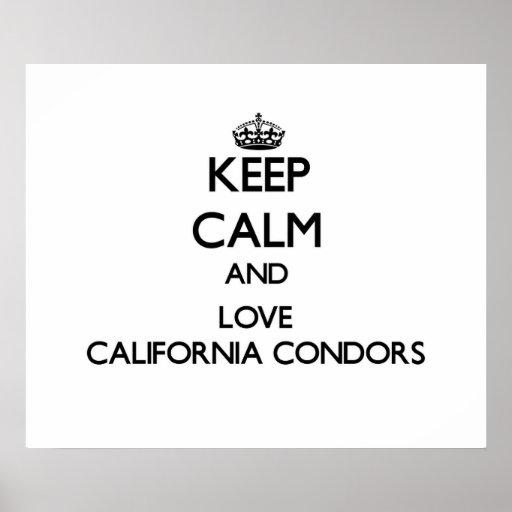 Guarde la calma y ame los cóndores de California Poster