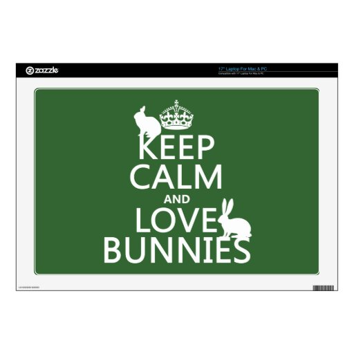 Guarde la calma y ame los conejitos - todos los co calcomanías para 43,2cm portátiles