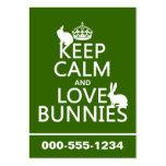 Guarde la calma y ame los conejitos - todos los co tarjetas de visita
