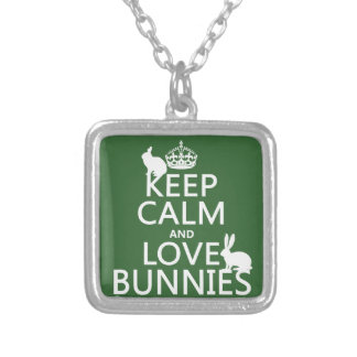 Guarde la calma y ame los conejitos - todos los collar plateado