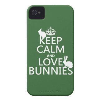 Guarde la calma y ame los conejitos - todos los funda para iPhone 4 de Case-Mate