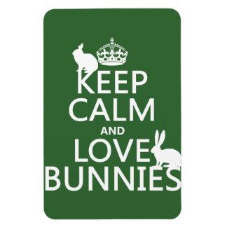 Guarde la calma y ame los conejitos - todos los iman de vinilo