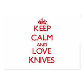 Guarde la calma y ame los cuchillos tarjeta de visita