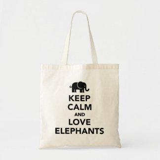 Guarde la calma y ame los elefantes bolsa tela barata