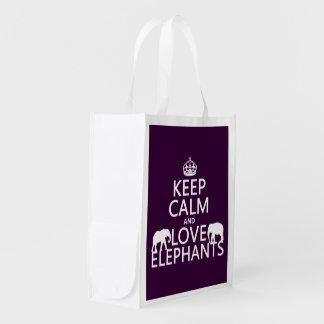 Guarde la calma y ame los elefantes (cualquier bolsa de la compra