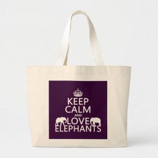 Guarde la calma y ame los elefantes (cualquier col bolsa de mano