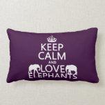 Guarde la calma y ame los elefantes (cualquier col almohada