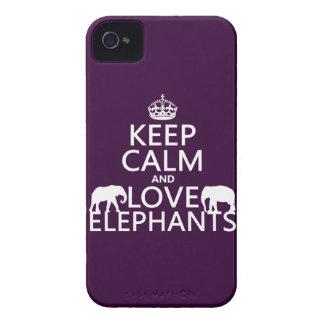 Guarde la calma y ame los elefantes (cualquier col iPhone 4 Case-Mate protectores