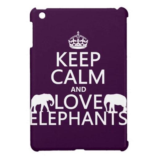 Guarde la calma y ame los elefantes (cualquier col iPad mini protectores