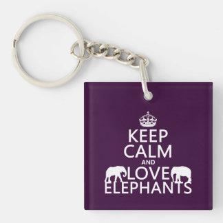Guarde la calma y ame los elefantes (cualquier col llaveros