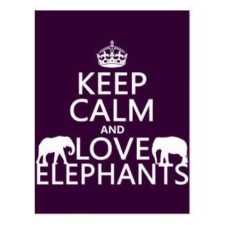 Guarde la calma y ame los elefantes (cualquier col postales