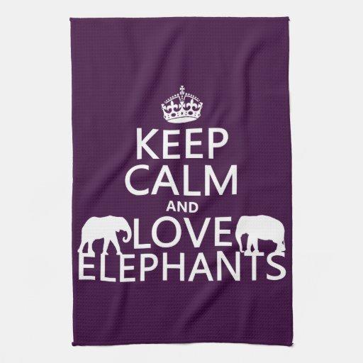 Guarde la calma y ame los elefantes (cualquier toalla de mano