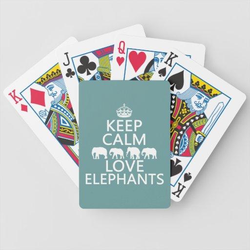 Guarde la calma y ame los elefantes (los colores a cartas de juego