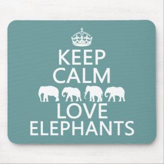 Guarde la calma y ame los elefantes (los colores a tapetes de ratón