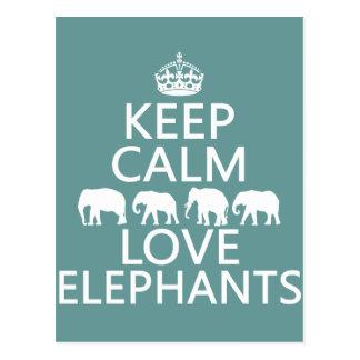 Guarde la calma y ame los elefantes (los colores a tarjetas postales