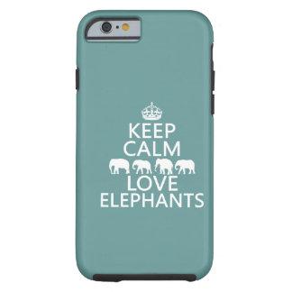 Guarde la calma y ame los elefantes (los colores funda de iPhone 6 tough