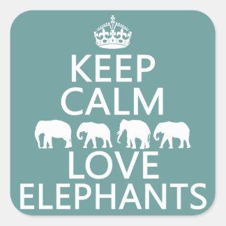 Guarde la calma y ame los elefantes (los colores pegatina cuadrada