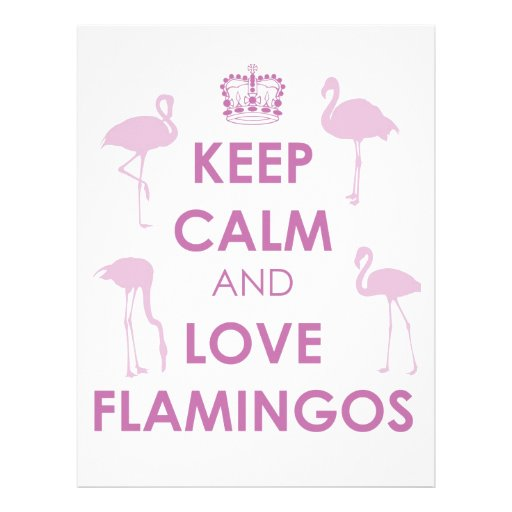 Guarde la calma y ame los flamencos plantilla de membrete