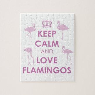 Guarde la calma y ame los flamencos rompecabeza