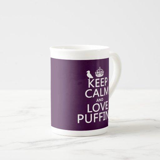 Guarde la calma y ame los frailecillos (cualquier  tazas de china