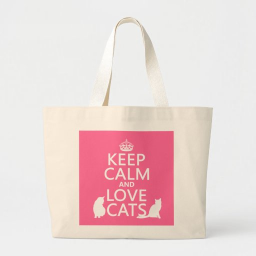 Guarde la calma y ame los gatos bolsa lienzo