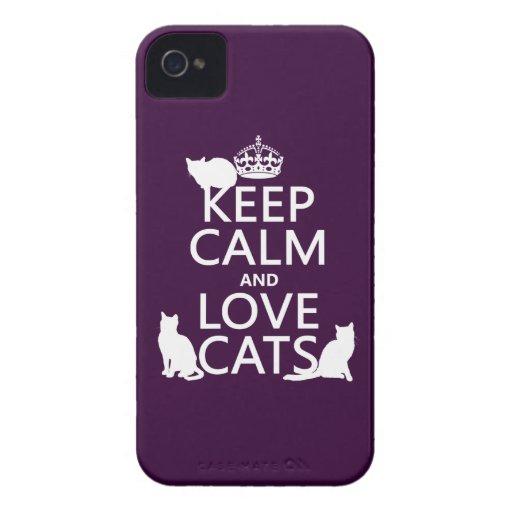 Guarde la calma y ame los gatos (en cualquier colo iPhone 4 Case-Mate fundas