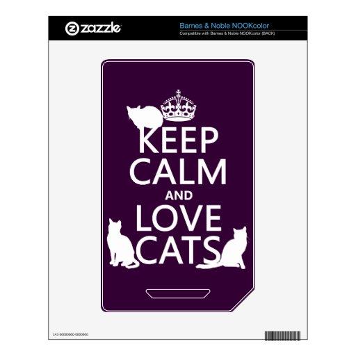 Guarde la calma y ame los gatos (en cualquier colo skins para NOOK color