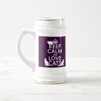 Guarde la calma y ame los gatos (en cualquier colo tazas de café