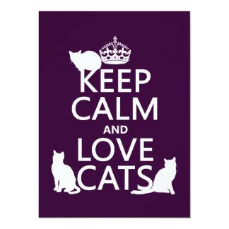 """Guarde la calma y ame los gatos (en cualquier invitación 5.5"""" x 7.5"""""""