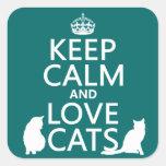 Guarde la calma y ame los gatos etiqueta