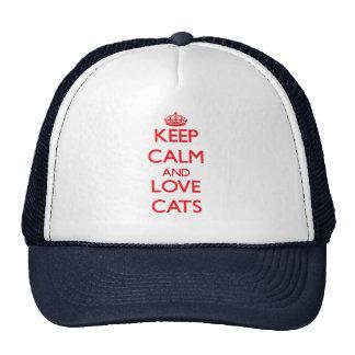 Guarde la calma y ame los gatos gorros bordados