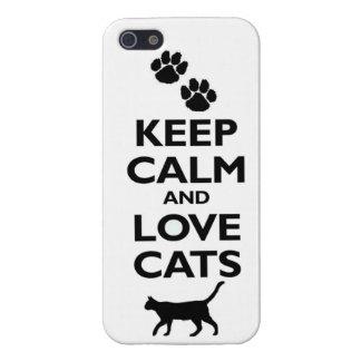 Guarde la calma y ame los gatos iPhone 5 fundas
