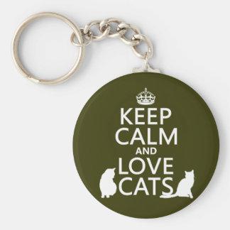 Guarde la calma y ame los gatos llaveros personalizados