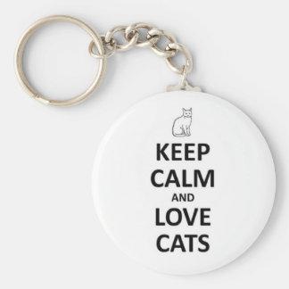 Guarde la calma y ame los gatos llavero personalizado