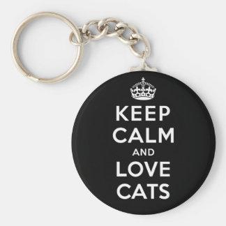 Guarde la calma y ame los gatos llavero redondo tipo pin