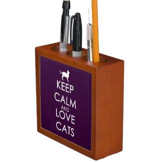 Guarde la calma y ame los gatos organizador de escritorio