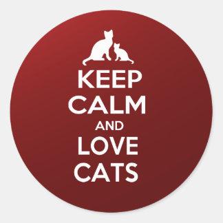 guarde la calma y ame los gatos pegatina redonda