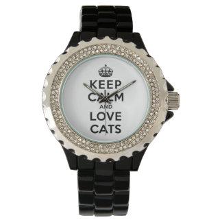 Guarde la calma y ame los gatos relojes de pulsera