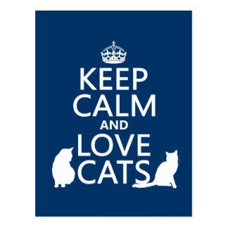 Guarde la calma y ame los gatos postales