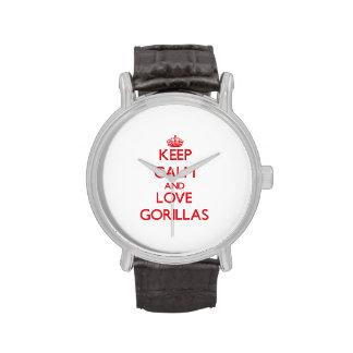 Guarde la calma y ame los gorilas reloj de mano