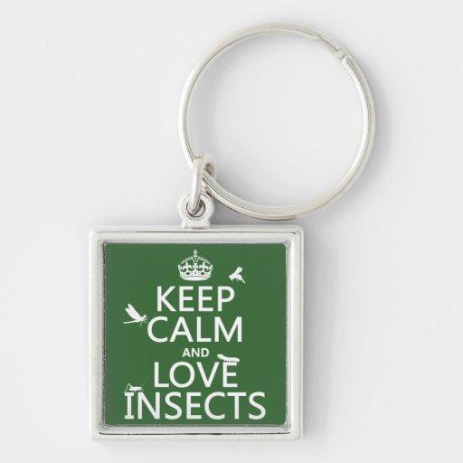 Guarde la calma y ame los insectos (cualquier colo llavero personalizado