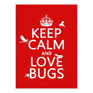 """Guarde la calma y ame los insectos (cualquier invitación 5.5"""" x 7.5"""""""